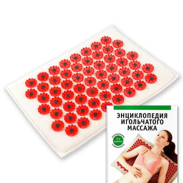 Массажер медицинский Тибетский аппликатор магнитный на мягкой подложке 17х28 см красный