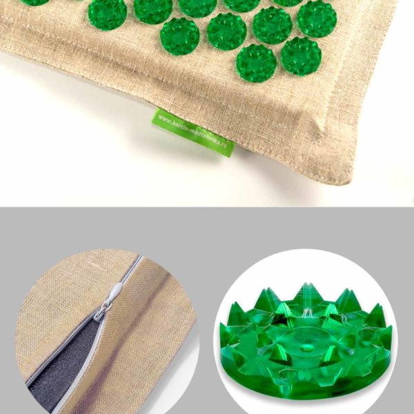 Массажер медицинский Тибетский аппликатор на мягкой подложке 41х60 см зеленый комфорт