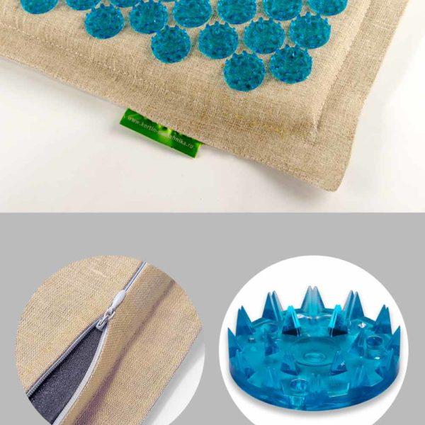 Массажер медицинский Тибетский аппликатор на мягкой подложке 41х60 см синий комфорт