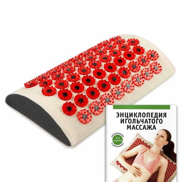 Массажер медицинский Тибетский аппликатор магнитный на мягкой подложке валик для поясницы красный