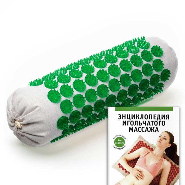Массажер медицинский Тибетский аппликатор Кузнецова, мягкий валик универсальный, зеленый