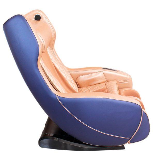 Массажное кресло Bend сине-коричневое, L-образная каретка, колонки, массаж фиксированной точки, прогрев, автоотключение, bluetooth GESS