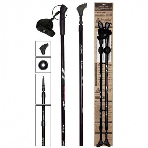 ERGOFORCE 12.075 black палки для скандинавской ходьбы (телескопические)