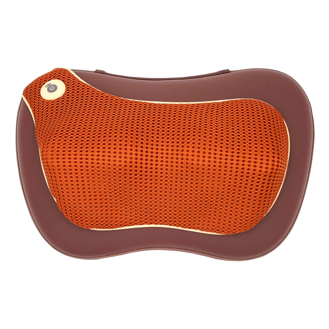 Массажная подушка uTenon, коричневая, 4 массажных ролика, акупунктурная накидка, прогрев, работает от сети/прикуривателя, автоотключение, GESS