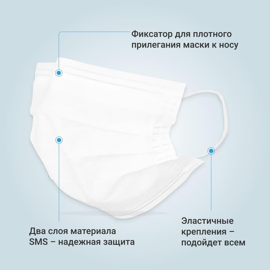 Маска защитная EcoSapiens двухслойная одноразовая, 100 шт. в наборе